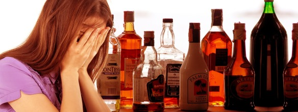 Woman crying with alcohol