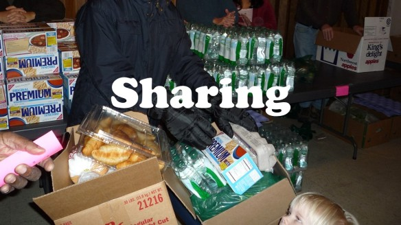 Sharing food.
